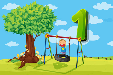 numbers counting: Flashcard number 1 with one children in the park illustration