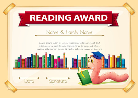 bookworm: Certification template design with bookworm illustration