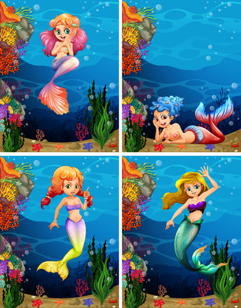 marine environment: Four scenes of mermaid swimming under the sea illustration Illustration