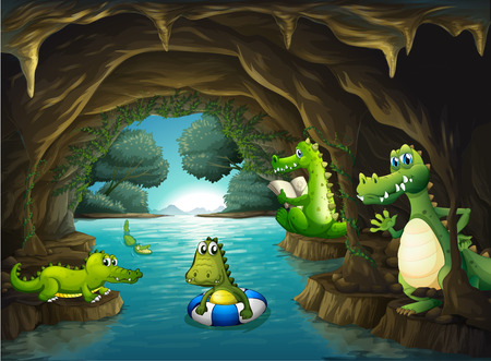 endangered: Crocodiles swimming in the cave illustration