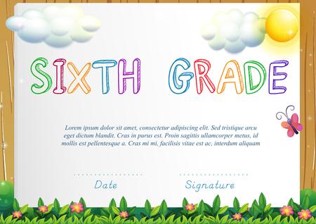 certification: Certification for six grade illustration