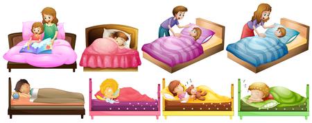 男の子と女の子はベッドの図  イラスト・ベクター素材