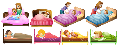 child sleeping: Boys and girls in bed illustration Illustration