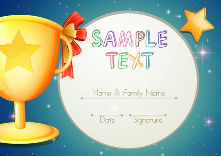 Certificering sjabloon met sterren en de trofee illustratie Vector Illustratie
