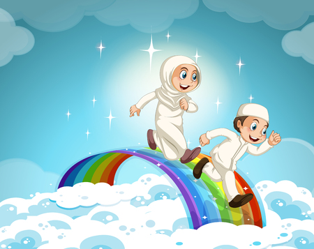 islamic: Muslim couple running over the rainbow illustration Illustration