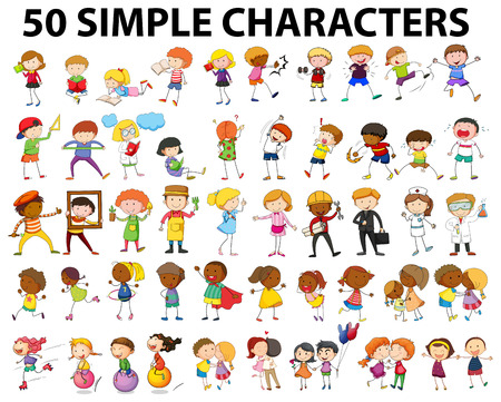 hugging: Fifty simple character doing different activities illustration