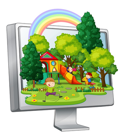 children playground: Children playing in the playground on computer screen illustration