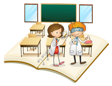 grown up: Book of scientists working in the class illustration Illustration