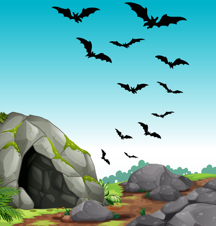 Bats flying out of the cave illustration Illustration
