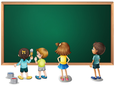 children painting: Children painting on the blackboard illustration