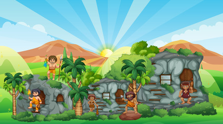 cave house: Cave people living in stone house illustration
