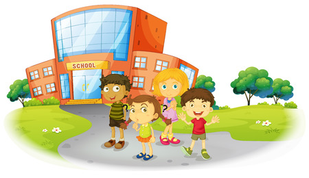school boys: Boys and girls standing on the school ground illustration Illustration