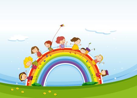 infancia: Niños que se colocan sobre el arco iris ilustración