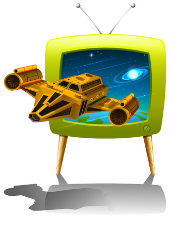 space television: Television screen with spaceship flying in the space illustration