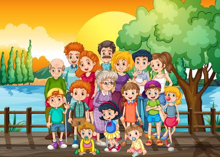 membres de la famille, debout sur le pont au coucher du soleil illustration