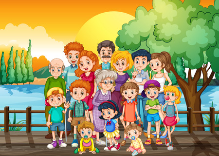 Family members standing on the bridge at sunset illustration Illustration
