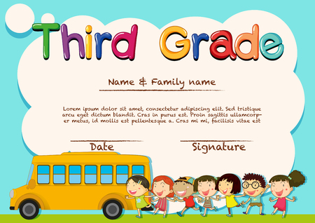 school picture: Diploma for third grade students illustration