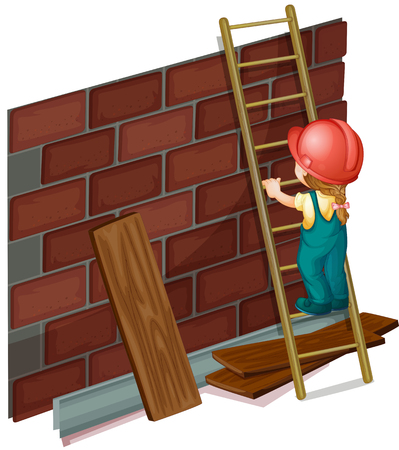 plywood: Girl working at the construction site illustration Illustration
