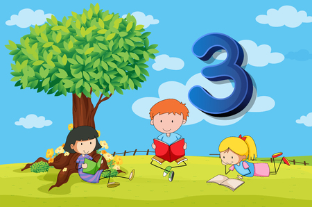 numbers background: Flashcard number 3 with three children in the park illustration