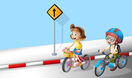 소년과 소녀 거리 그림에 자전거를 타고