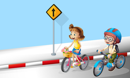 Boy and girl riding bike on the street illustration
