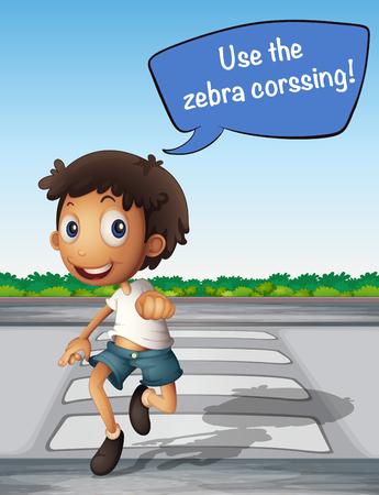 zebra crossing: Boy crossing the road using zebra crossing illustration