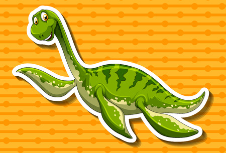 long neck: Green dinosaur with long neck illustration Illustration