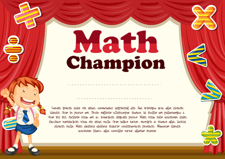 certification: Certification with girl and math theme illustration
