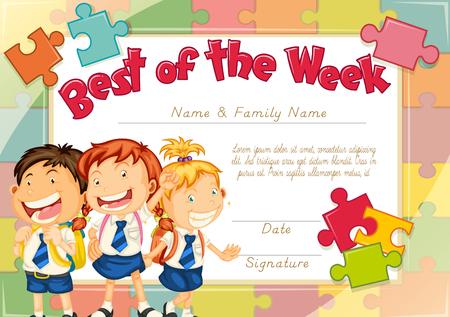 three children: Diploma template with three children background illustration