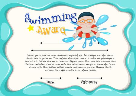 certification: Certification template of best swimmer illustration