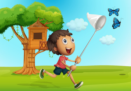 Boy catching butterflies in the garden illustration