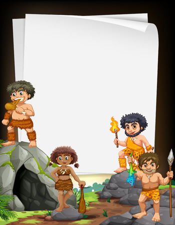 Border design with cavemen living at the cave illustration