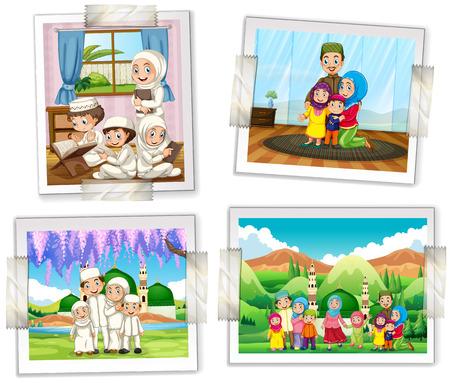 familia orando: Cuatro marcos de fotos de la ilustración Familia musulmán