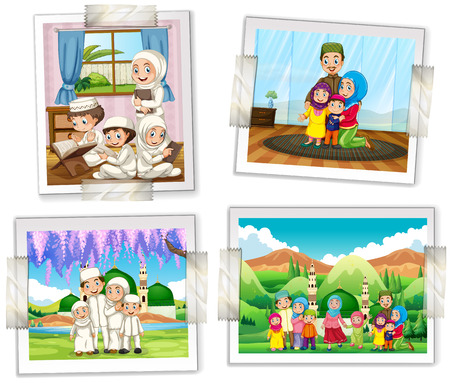 children art: Four photo frames of muslim family illustration Illustration