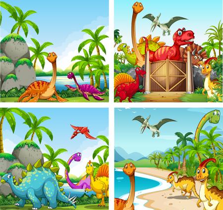 animales de la selva: Cuatro escenas de dinosaurios en el parque de la ilustración