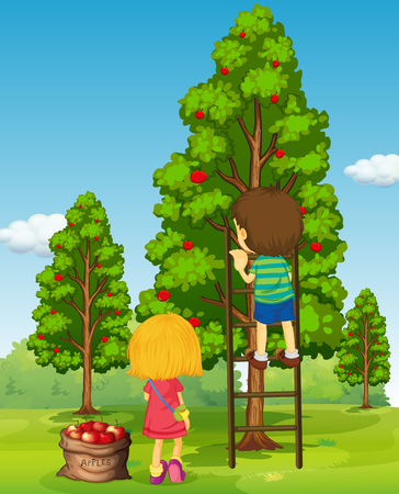 Boy and girl picking apples from the tree illustration