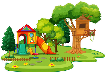 playhouse: Playhouse and treehouse in the park illustration