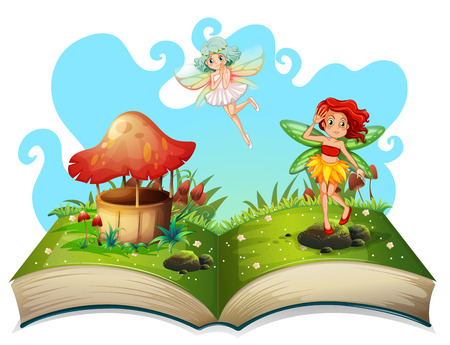 Fairies: Book of fairies flying in the garden illustration