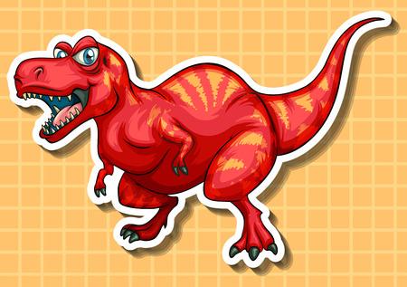 t rex: Red dinosaur with sharp teeth illustration