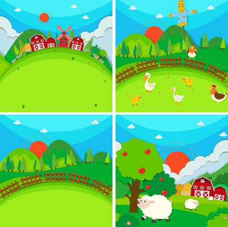 farmland: Four scenes of farmland with barn and animals illustration