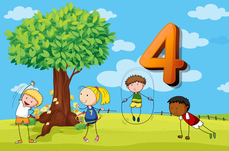 numbers clipart: Flashcard number 4 with four children in the park illustration