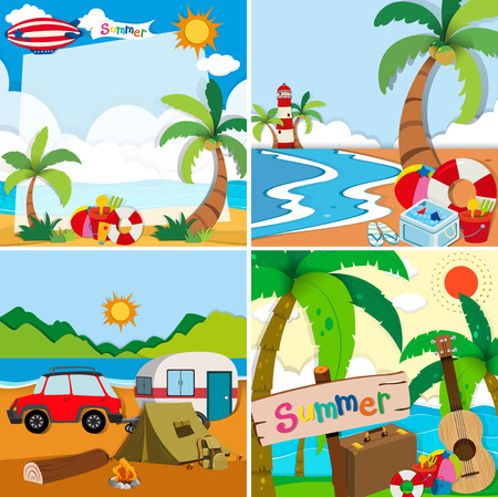 guitar background: Four scenes of summer vacation on the beach illustration Illustration