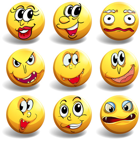 facial expression: Facial expression on yellow ball illustration