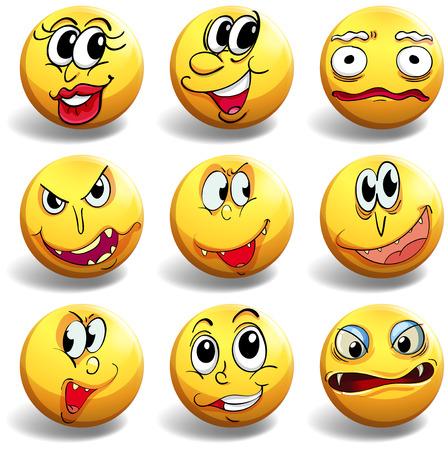 L'expression du visage sur la boule jaune illustration