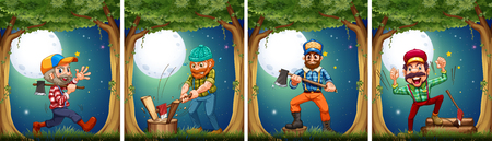 grown up: Lumbers chopping woods at night illustration