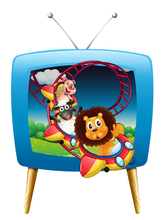 rollercoaster: Television screen with animals on the rollercoaster illustration