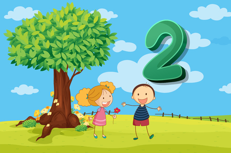 numbers background: Flashcard number 2 with two children in the park illustration