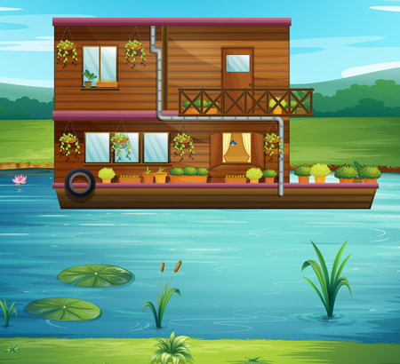 Boat house floating on the river illustration Vettoriali