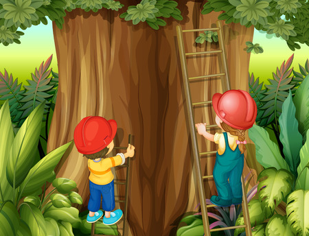 ladder safety: Boy and girl climbing ladder up the tree illustration
