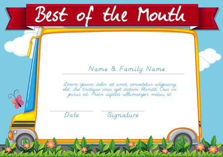schoolbus: Certificate template with schoolbus background illustration Illustration